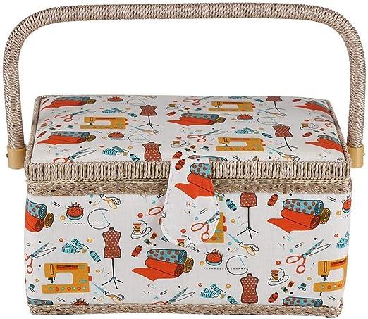 Caja de Coser,Caja de Costura Cesta de Costura de Tela Caja de Almacenamiento con asa e Inserto de plástico Almacenamiento de Herramientas de Costura utilizadas, 27.8 x 18 x 14.5 cm: Amazon.es: