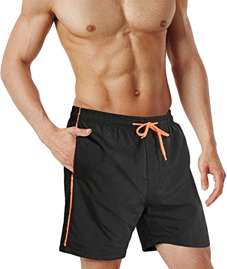 EKLENTSON Mens Beach Shorts Contrast Color Quick Dry Breathable Mesh Lining Fashion Shorts with Pockets