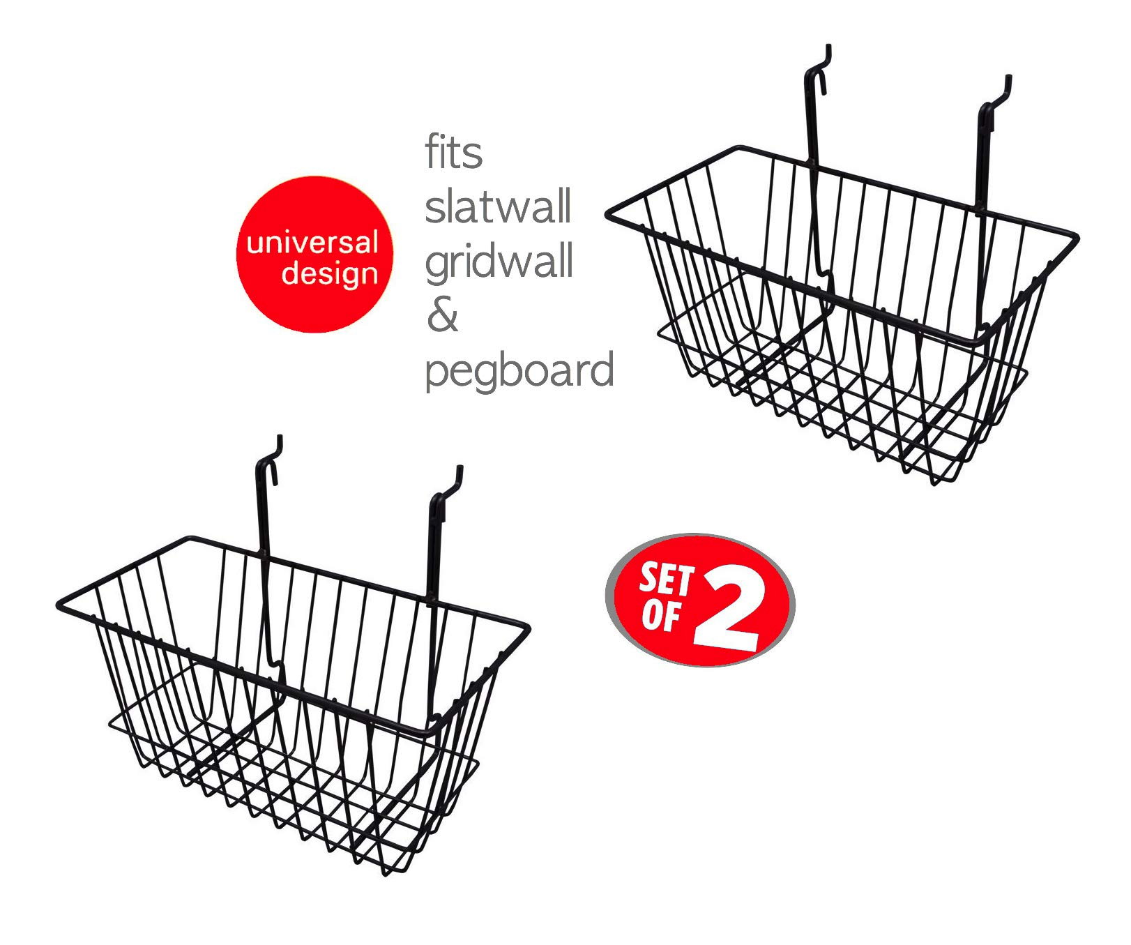 Only Hangers Small Wire Storage Baskets for Gridwall, Slatwall and Pegboard - Black Finish - Dimensions: 12'' x 6'' x 6'' Deep - Economically Sold in a Set of 2 Baskets