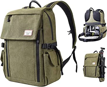 Zecti Camera Backpack Waterproof Canvas DSLR Camera Bag (New Version) For 1 DSLR 4xLens Laptop and Other Digital Camera Accessories with Rain Cover-Green