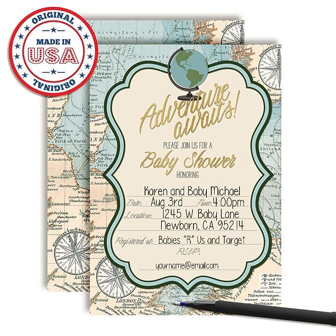 25051da7232 Amazon.com  Adventure Awaits World Traveler Gender Neutral Baby Shower  Invitations