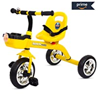 Baybee Speed Racing Tricycle Kid's Trike with The Smart Plug and Play Baby Tricycle/Bicycle with Seat Belt Kid's Ride on Outdoor   Suitable for Boys & Girls-(1 to 5 Years) Yellow