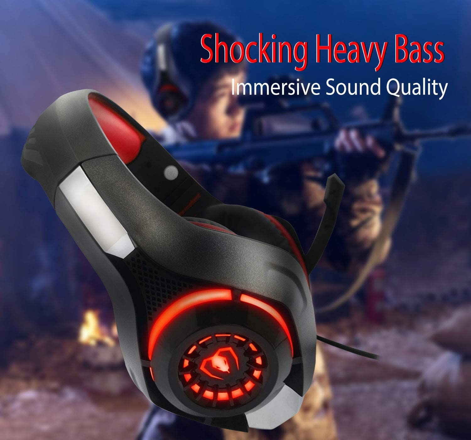 Pro Gaming Headset for PC PS4 Xbox One Surround Sound Over-Ear Headphones with Mic LED Light Bass Surround Soft Memory Earmuffs for Computer Laptop Switch Games Kid/'s Boy/'s Teen/'s Gifts