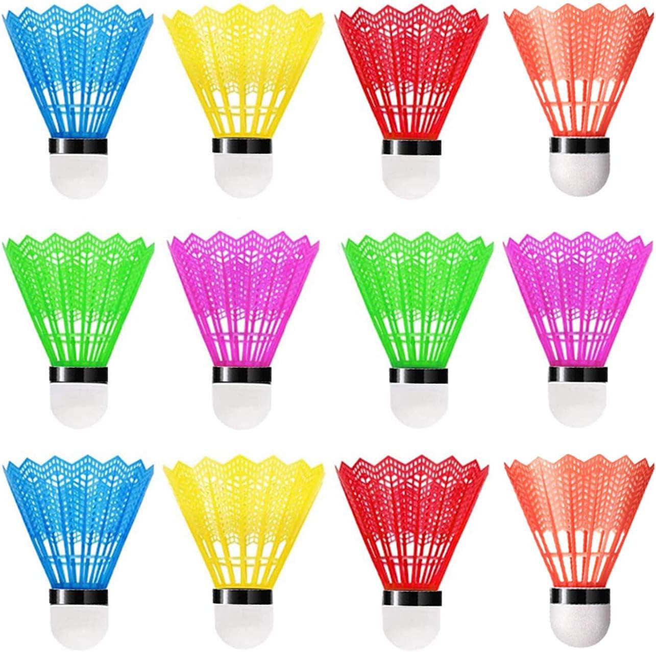 WELLXUNK® Volantes de Bádminton, bádminton led, bádminton de plástico 12 Pack, bádminton Pluma, Volante Pluma Badminton, con Gran Estabilidad y Durabilidad