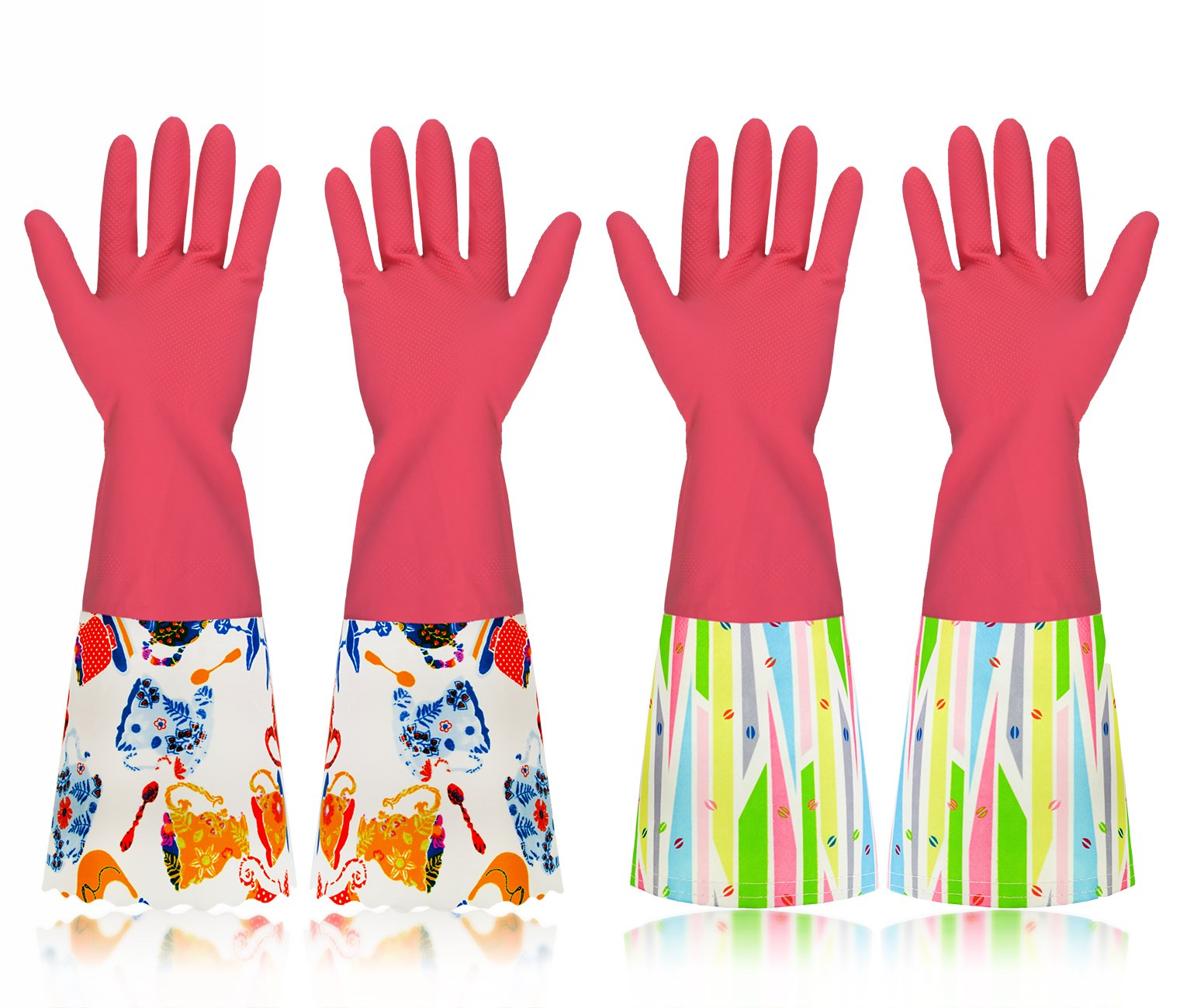 Household Cleaning Rubber Gloves with Cotton Lining, Long Natural Latex Dishwashing Gloves, Pink, 2 Pairs