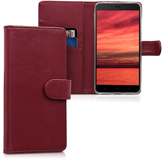 best service cd982 93e31 kwmobile Wallet Case for Xiaomi Redmi Note 4 / Note 4X - Protective PU  Leather Flip Cover with Magnetic Closure, Card Slots and Kickstand
