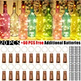 Wine Bottle Lights with Cork - 20 Pack 20 LED Battery Operated LED Fairy Mini String Lights for Christmas Decorations…