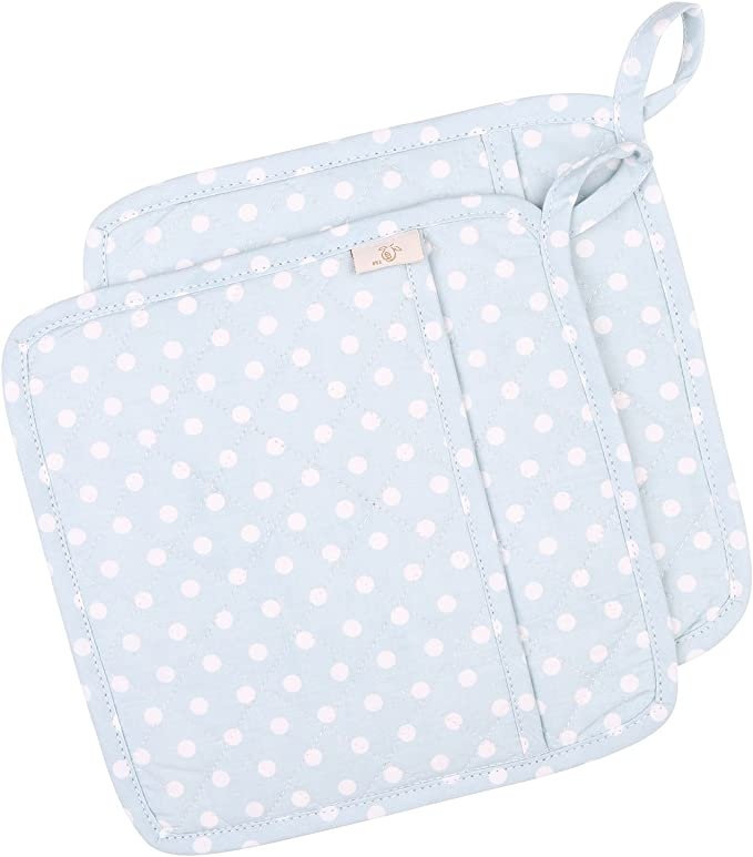 Kitchen Pot Holder Quilted Hot Pad Insulated Oven Mitt 9 X 8 Aqua and Green Polka Dots Pocket