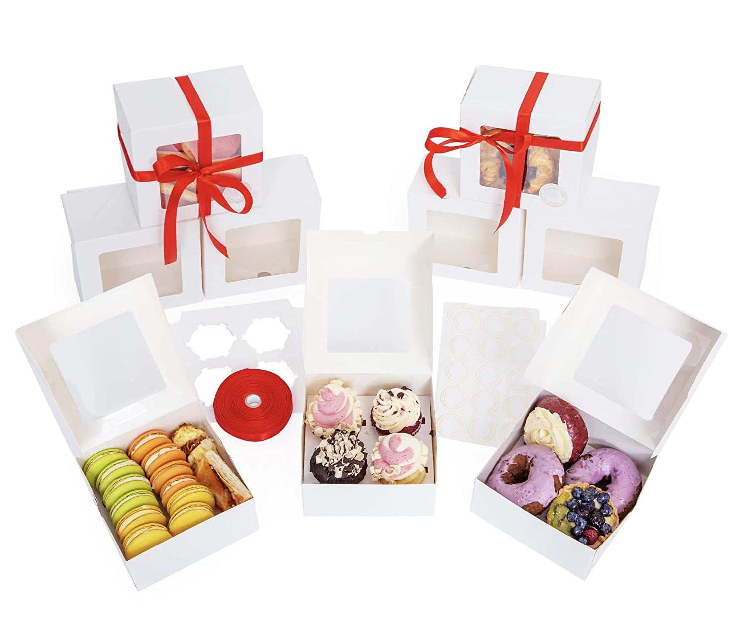 Coast to Koast Cake Boxes 6 Inch, Greaseproof. 30 pcs Bakery Box With Window, Cupcake Inserts, Ribbons, Stickers! Auto-Pop up Treat Boxes, Cupcake Boxes, Pastry Boxes, Cookie Boxes, Strawberry Boxes, Oil Resistant 6x6x3 Bakery Box for Dessert and Donuts
