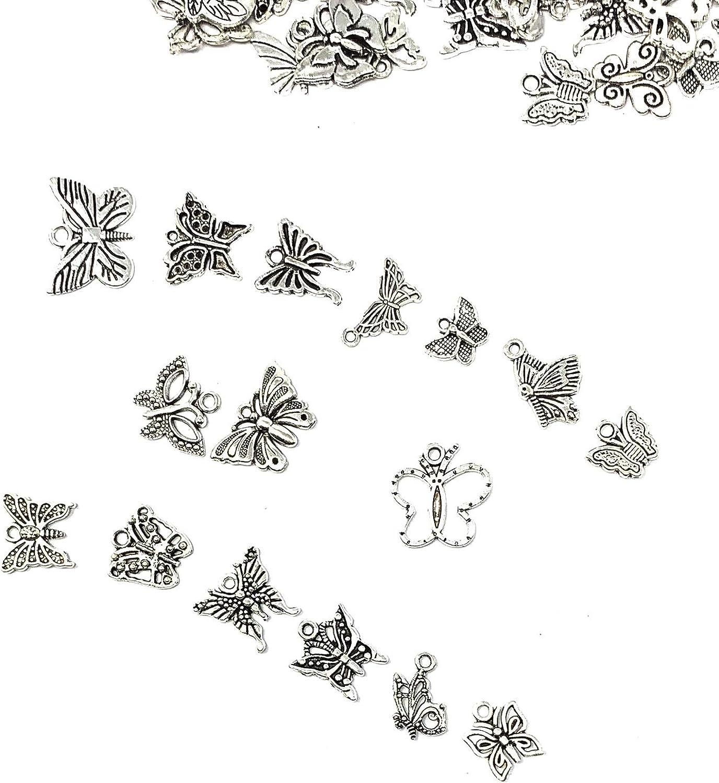 30pc Plata Tibetana Colgante de Mariposa Encantos Colgantes Joyería Accesorios 704FF