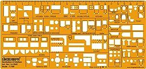 Interior Design Kitchen Template Sanitary Drafting Stencil Templates Scale 1:100
