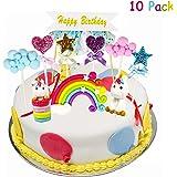Yojoloin Tortendeko Geburtstag Einhorn Kuchen Regenbogen Happy Birthday Topper Kuchenaufsatz Einhorn Geburtstag Cake Topper Kit Dekoration für Kinder Mädchen Junge(10pcs)