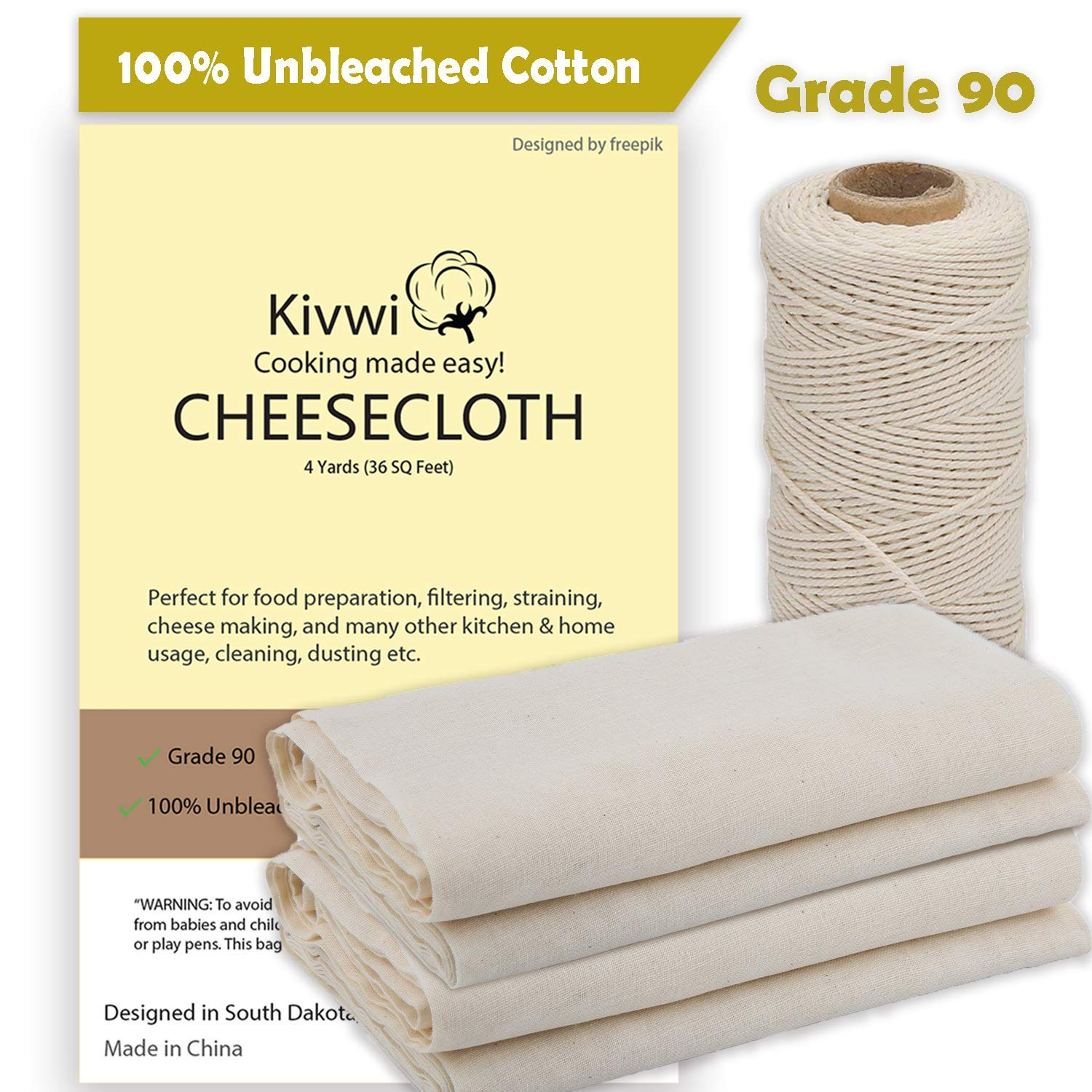Kivwi Cheesecloth, Grade 90, 36 Sq Feet, Reusable, 100% Unbleached Cotton Fabric, Ultra Fine Cheesecloth for Cooking - Nut Milk Bag, Strainer, Filter (Grade 90-4 Yards)