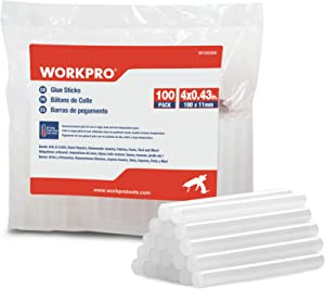 WORKPRO 100-PACK Full Size Hot Glue Sticks-0.43x4 Inches, Compatible with Most Glue Guns, Multipurpose for DIY Art Craft General Repairs, Home Decoration and Gluing Projects
