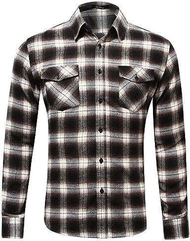 Camisa de Franela de Cuadros Buffalo de Manga Larga con Botones para Hombre