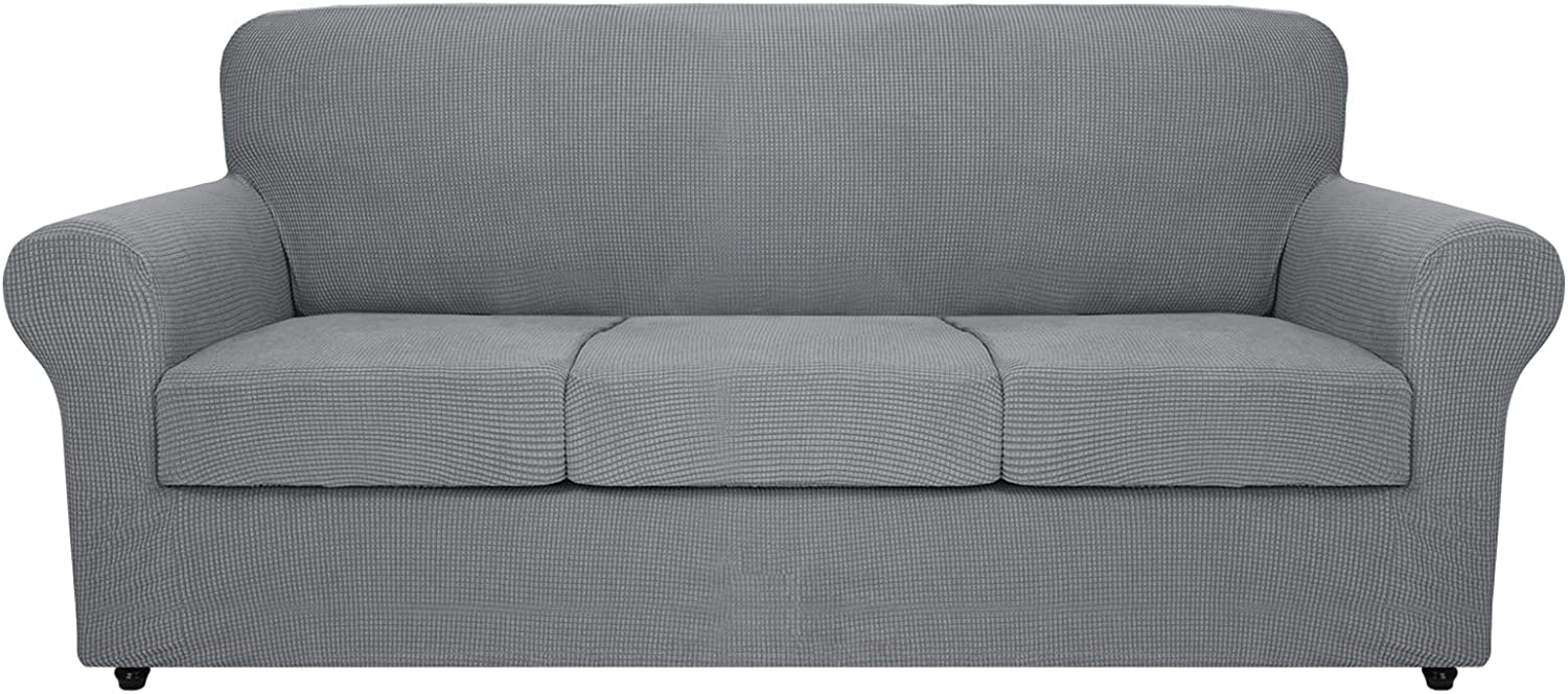 MAXIJIN 4 Piece Extra Large Couch Covers for 3 Cushion Couch Super Stretch XL Sofa Cover Dogs Pet Proof Furniture Protector Spandex Non Slip Couch Slipcover Washable (Oversized Sofa, Light Gray)