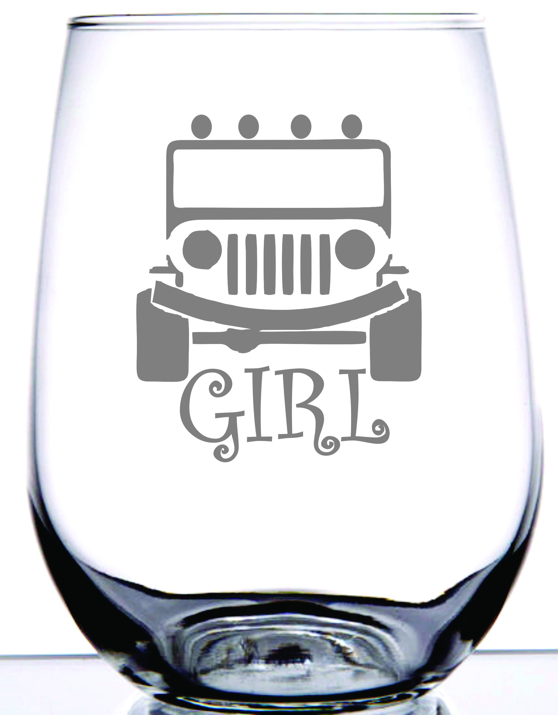 IE Laserware Girls Jeep Too! Laser Etched Engraved Wine Glass, 17 Ounce Stemless Wine Glass For Jeep Lovers