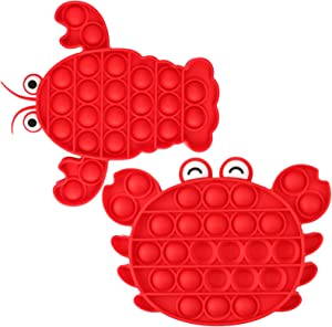 【Update 2021】 Sensory Fidget Toys, Pop Push Bubble Special Needs Toys for Kids, Food Grade Silicone Relieving Stress Toys for Adults, Just Bubble Game Sensory Toy for Anxiety (Crab + Lobster)