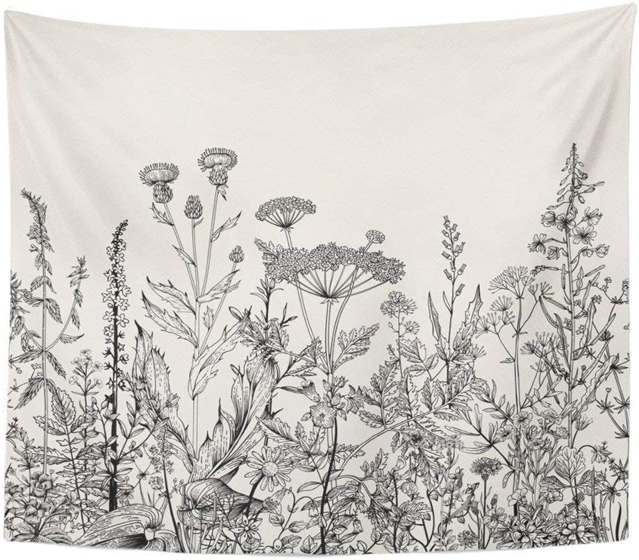 SOFTBATFY Flower Wall Art Hanging Tapestry, Floral Living Room Office Tapestry, Bedroom Dorm Headboard Tapestry Home Decor (Medium-51 58inches, Wild Flower)