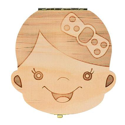 Malloom Español!! Cajas de dientes Organizador cajas de almacenaje de madera de los dientes de leche del bebé (Chica)