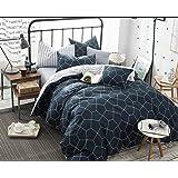 Queen Duvet Cover Set Navy Blue, 3 Piece 1200TC Geometric Diamond Pattern Luxury Microfiber Bedding Comforter Quilt Cover wit