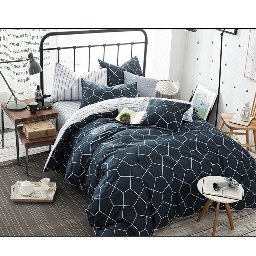 Twin Duvet Cover Set Navy Blue, 68x90 Soft Geometric Diamond Pattern Bedding Cover, Luxury Cool Lightweight Microfiber 2 pc Set with Zip, Ties - Best Modern Style Comforter Quilt Cover for Kid Young