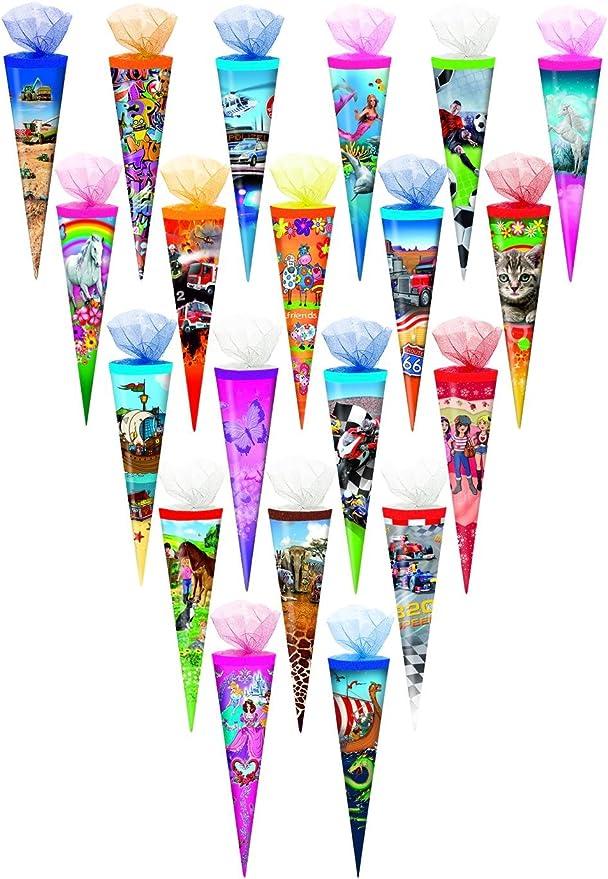 35cm 5 verschiedene Motive Tüllverschluss rund 5x Schultüte Zuckertüte