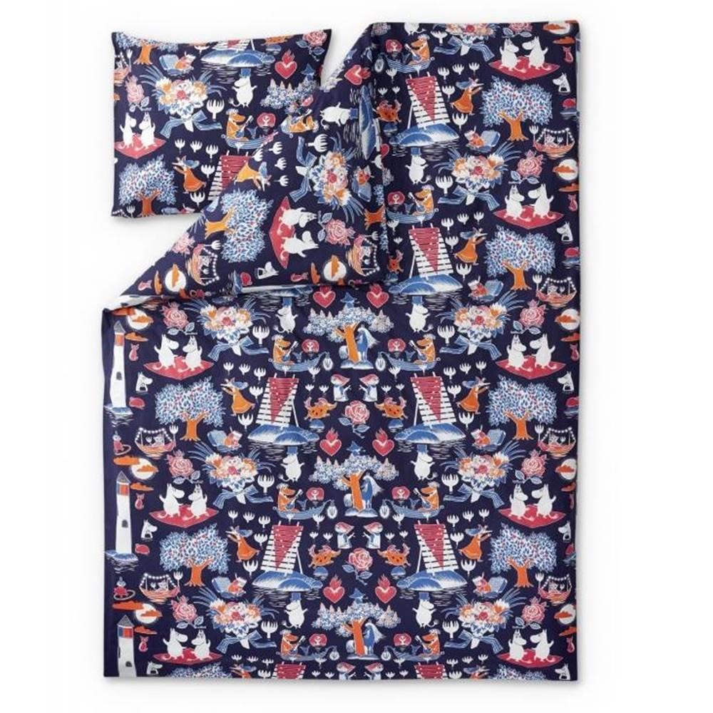 フィンレイソン) ヴィンテージ Moomin ムーミン ダークブルー B00VXXRHXG (finlayson + 枕カバー/ピローケース セット 布団カバー