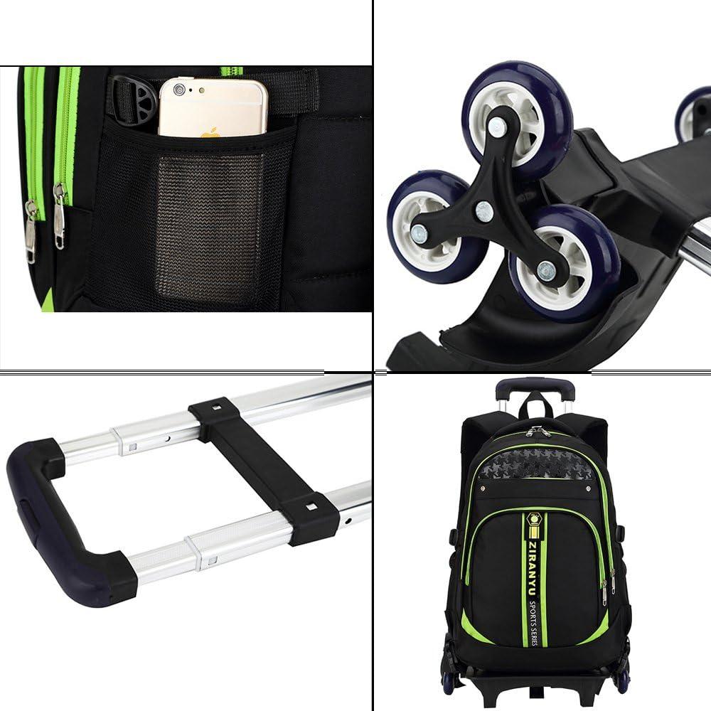 ZEVONDA Garçon Sac à Dos avec roulettes Trolley Bag Rentrée Scolaire Cartable Roulette Bagages Loisir Voyage, Vert Vert