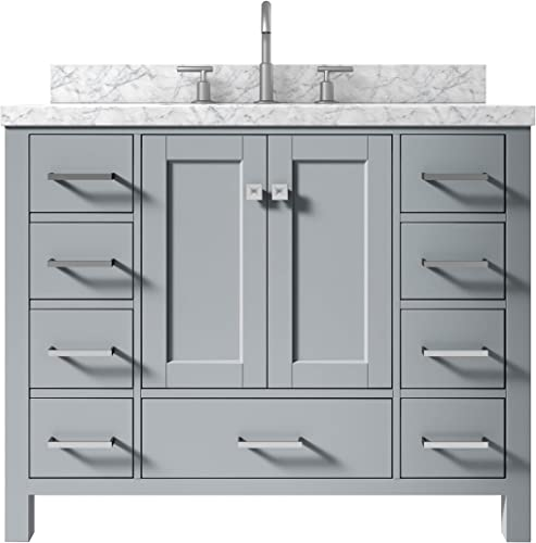 ARIEL 43″ Inch Rectangle Sink Grey Bathroom Vanity Cabinet