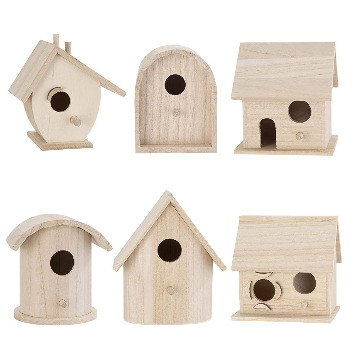 Bulk Buy: Darice DIY Crafts Wood Birdhouse Wren Promo Assortment 5-7 inches each (6-Pack) 9180-09