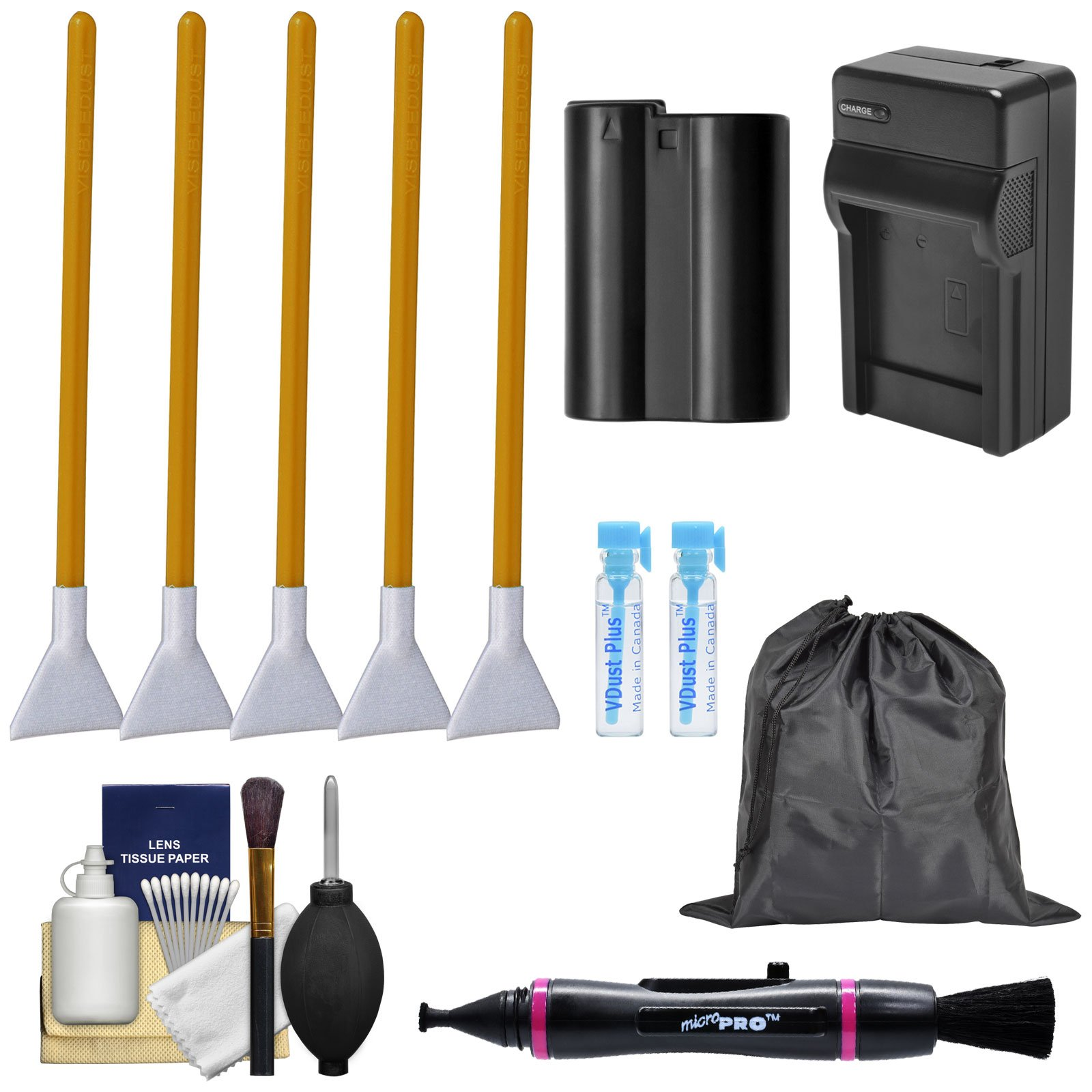 Essential Bundle Sensor Cleaning Kit with EN-EL15 Battery & Charger Bundle for Nikon D7100, D7200, D7500, D500 DSLR Cameras