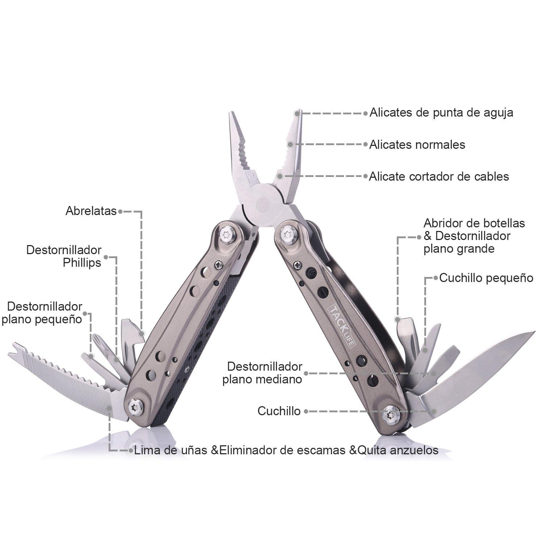 Tacklife MPY06 14 en 1 Plegables Alicates Multiusos de La Herramienta, Multiherramienta de Acero Inoxidable Navaja Suiza Alicate Destornillador ...