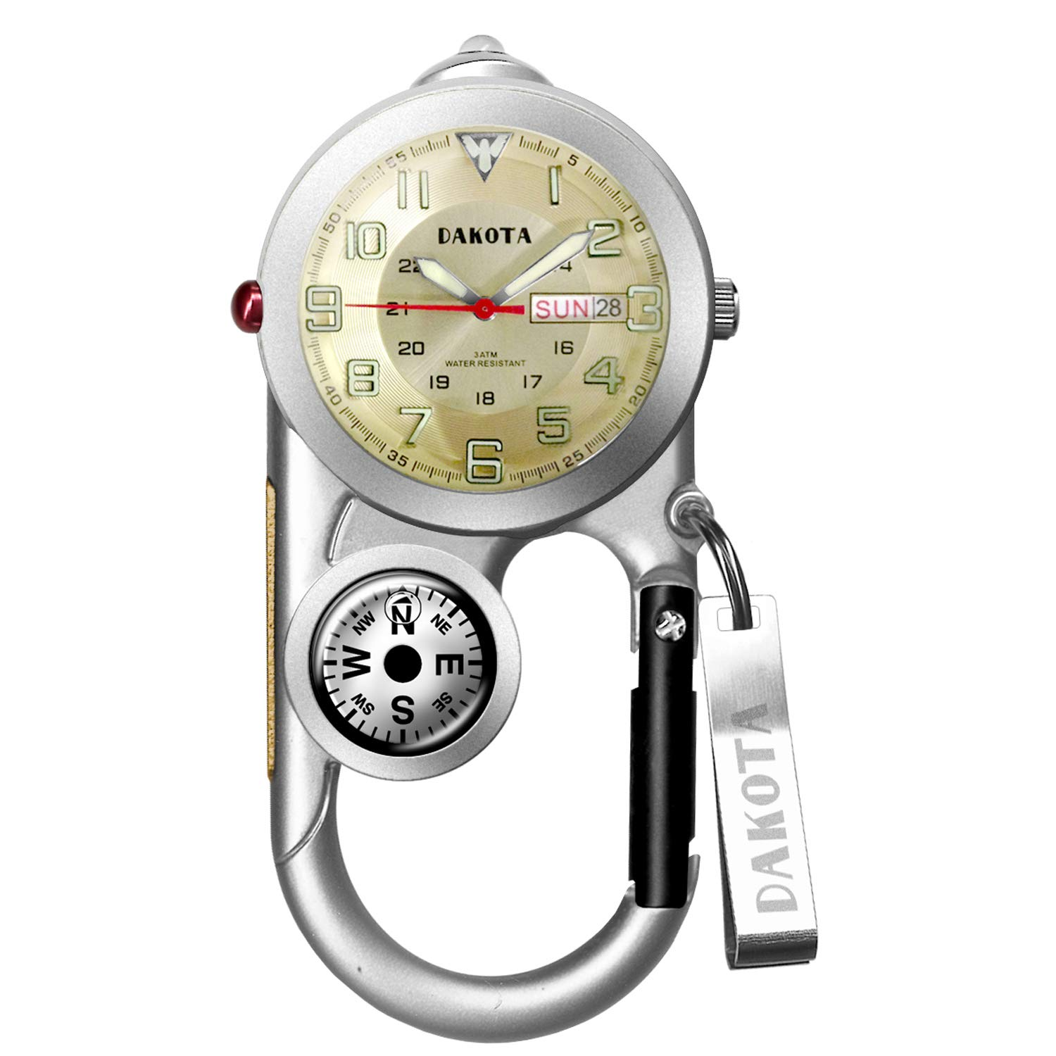 Dakota Angler II Day/Date Clip Watch - Silver/Champagne - Fishing, Camping, Hunting, Sporting Carabiner Clip Water Resistant with Compass and Thermometer (Model: 37492)