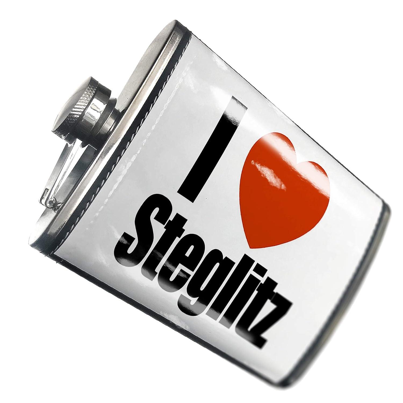 8オンスフラスコステッチI Love Steglitz地域:ドイツのベルリンのステンレススチール – Neonblond   B00QQVL2YU