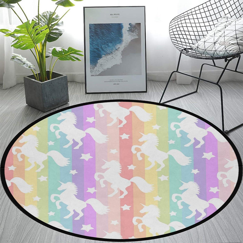 Round Area Rug Non-Slip Large Circle Rugs for Living Room Bedroom Beautiful Modern Microfiber Soft Carpet Machine Washable Floor Mat Home Decor 3-Feet Diameter (Unicorn Rainbow Stripe)