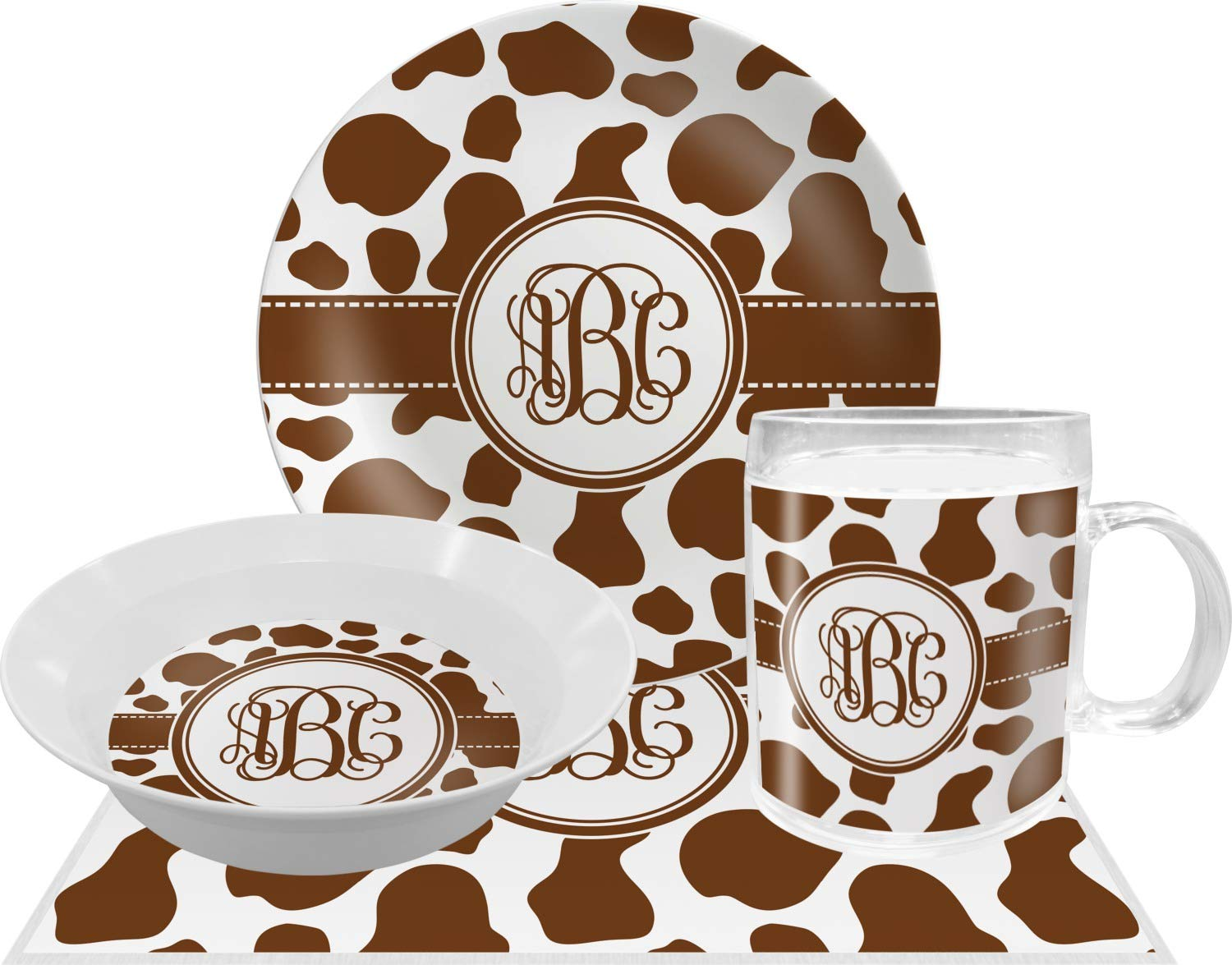 Cow Print Dinnerセット – 4 pc ( Personalized )   B00L2HC1FW