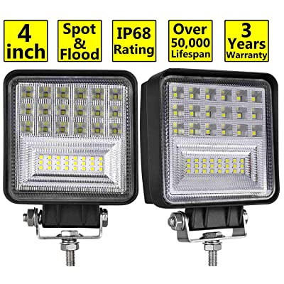 LED Pods, Moso LED 2 pcs 4 inch LED Fog Light Philips Spot Flood Combo Light Cube Light Work Light Driving Light LED Light Bar for Truck ATV UTV SUV Marine Boat Jeep Tractor: Automotive