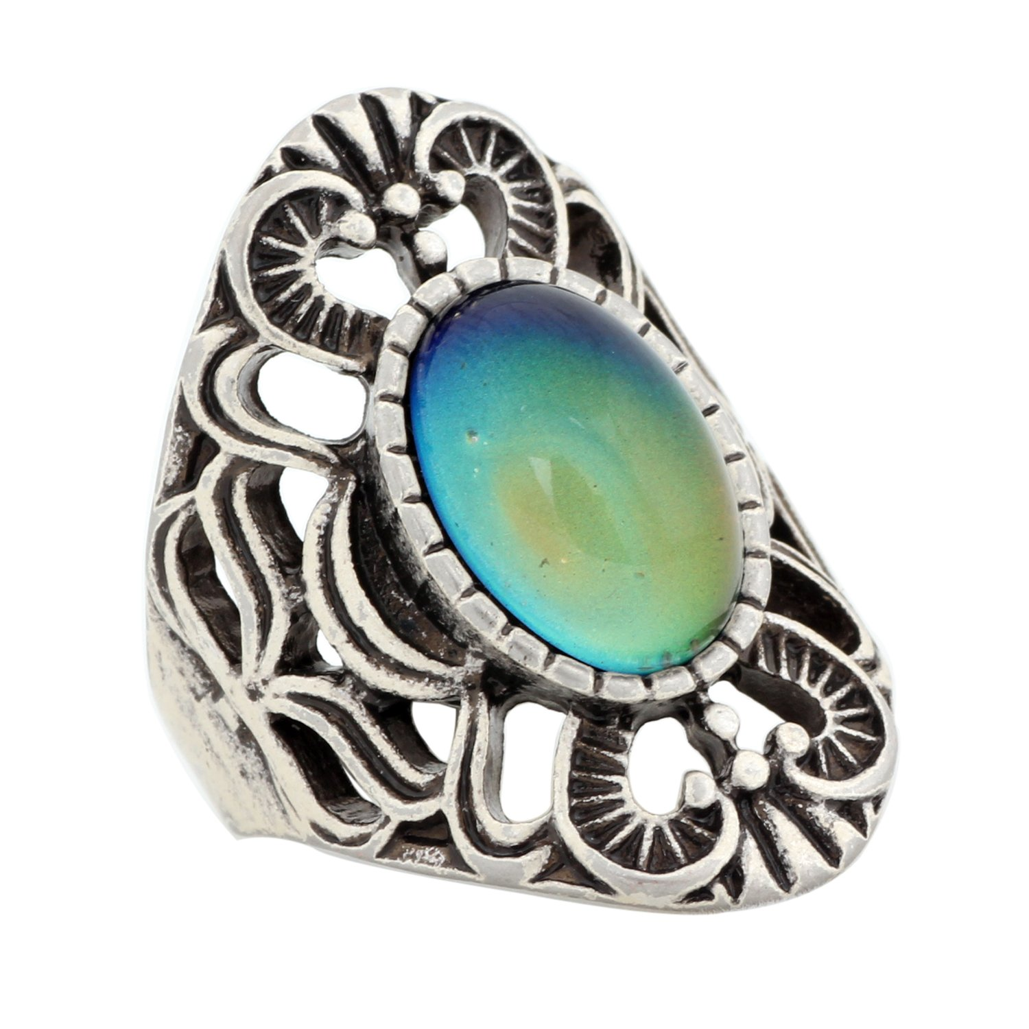 Mojo Hollowed Pattern Antique Sterling Silver Plating Oval Stone Color Change Mood Ring MJ-RS013