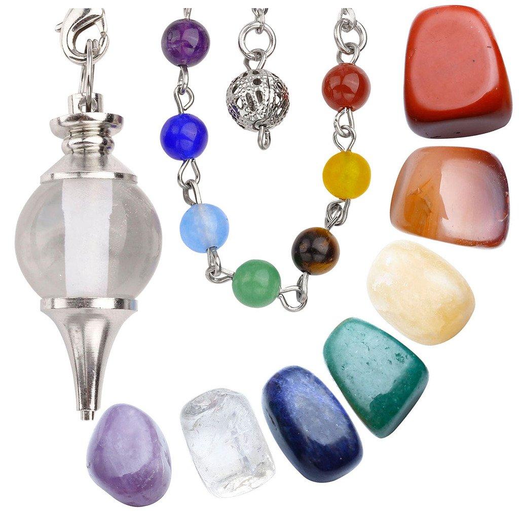 Jovivi Joyerí a de curació n cristales de 7 Chakra Tumbled piedras y cristal de roca Cuarzo radioesté sica pé ndulo Chakra Colgante/pulsera AJUK50106401