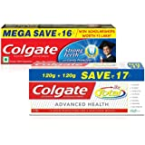 Total Advanced Health Saver Pack Toothpaste - 240 g and Colgate Strong Teeth Toothpaste - 300 g (Anti-cavity) with Free Toothbrush