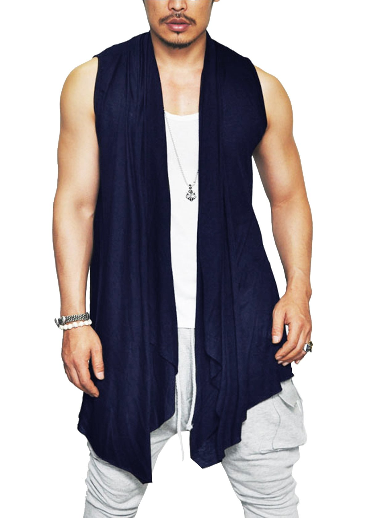 Coofandy Men's Ruffle Shawl Collar Sleeveless Long Cardigan Vest,Navy Blue,X-Large