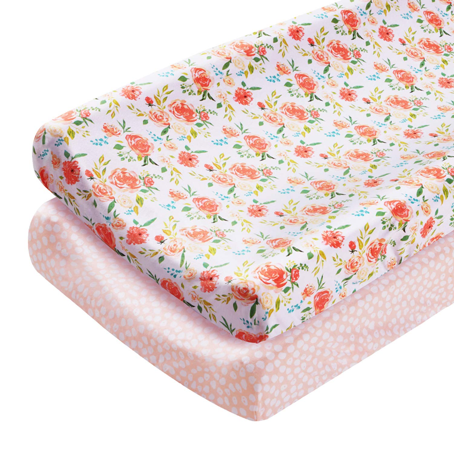 Fit Standard Contoured Changing Table Pads LNGLAT 2-Pack Cotton Cradle Sheets for Baby Girls Changing Pad Covers