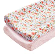 Changing Pad Covers, LNGLAT 2-Pack Cotton Cradle Sheets for Baby Girls, Fit Standard Contoured Changing Table Pads