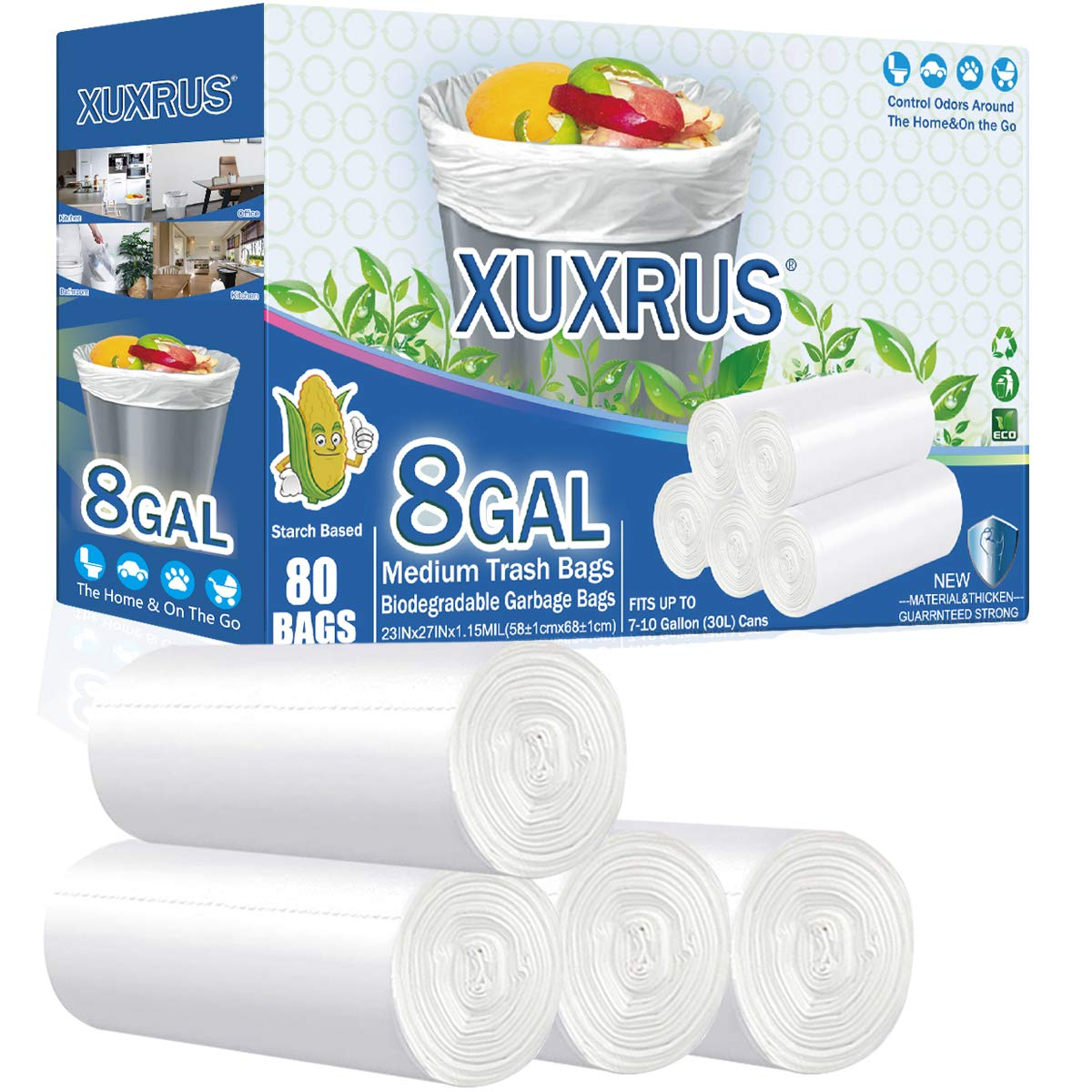 XUXRUS Medium Garbage Bags 8 Gallon Clear- 80 Counts Biodegradable Trash Bags 8 Gallon Wastebasket Trash Can Liners for Bathroom Office,Kitchen, Fits 6,7,8,9,10 gal 25-30L