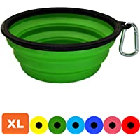Zenify Dog Bowl - Extra Large 1000ml Collapsible Foldable Food and Water Feeder Dish - Portable Travel Leash Lead Slim Accessories for Training Pets Puppy Dogs (7 inches / 17.8 cm) (Green XL)