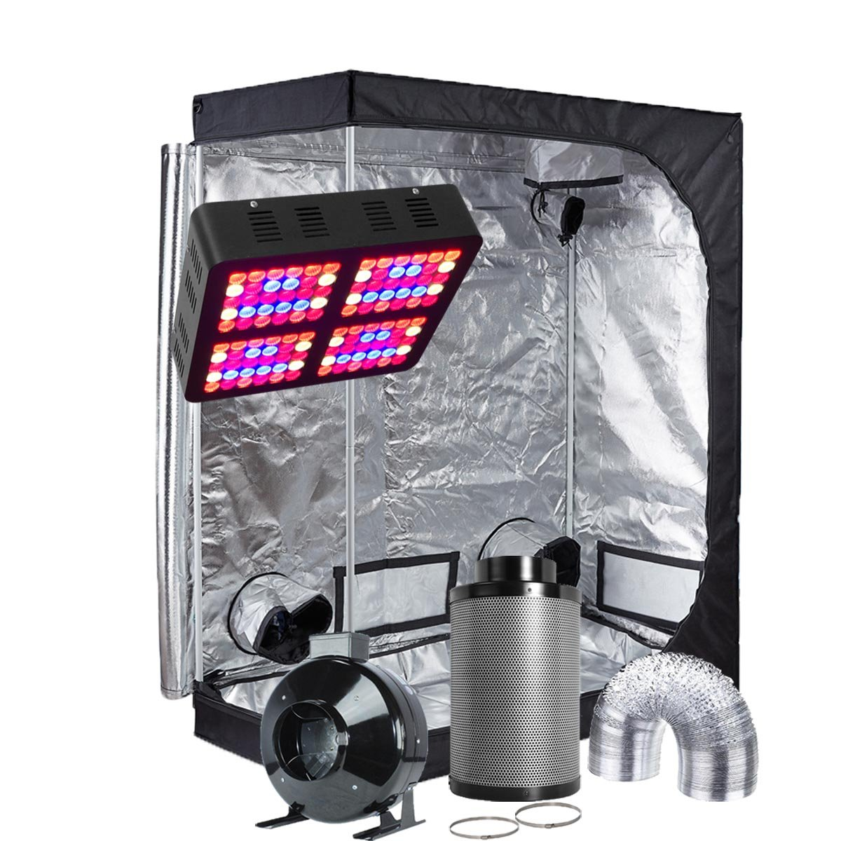 Oppolite LED Grow Tent Kit Complete Package LED 600W Grow Light Kit +6'' Fan Filter Ventilation Kit +48''X24''X60'' Grow Tent Setup Hydroponics Indoor Plants Growing System (LED600W+48''X24''X60''+6'')