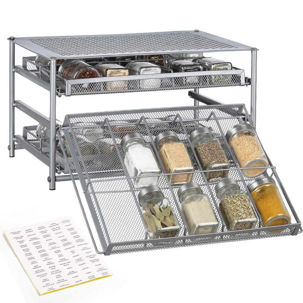 NEX Spice Rack 3 Tier 30-Bottle Spice Drawer Organizer for Pantry Kitchen Cabinet, Metal by NEX