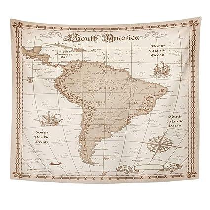 Amazon Com Emvency Decor Wall Tapestry Old South America Map Brazil