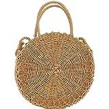 Puedo Womens Vintage Rattan Handbag Handmade Tote Weave Purse Straw Bag Beach Bag Summer Straw Shoulder Crossbody Bag